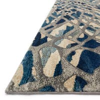 Phaedra Abstract Artic Blue/ Silver Rug - 2'3 x 8'