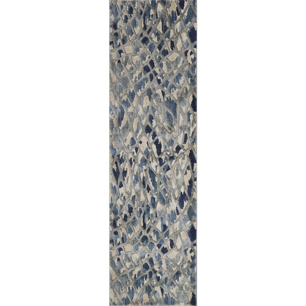 """Phaedra Abstract Artic Blue/ Silver Rug - 2'3"""" x 10'"""