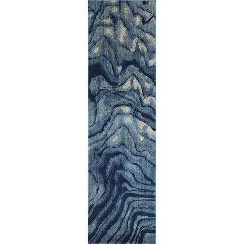 "Phaedra Abstract Indigo/ Blue Rug - 2'3"" x 10'"
