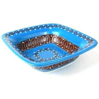 Handmade Flared Serving Bowl - Azure Blue (Mexico)
