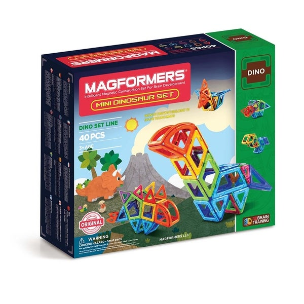 Magformers Mini Dinosaur 40 Piece Magnetic Construction Kit