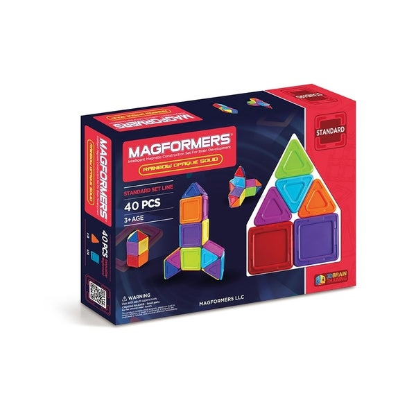 Magformers Solids Opaque Rainbow 40 Piece Magnetic Construction Set