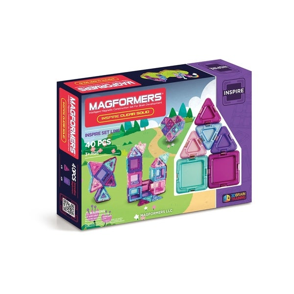 Magformers Solids Clear Inspire 40 Piece Magnetic Construction Set