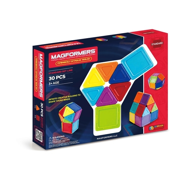 Magformers Solids Opaque Rainbow 30 Piece Magnetic Construction Set