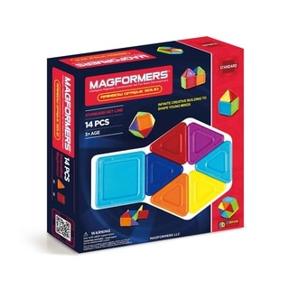 Magformers Solids Opaque Rainbow 14 Piece Magnetic Construction Set