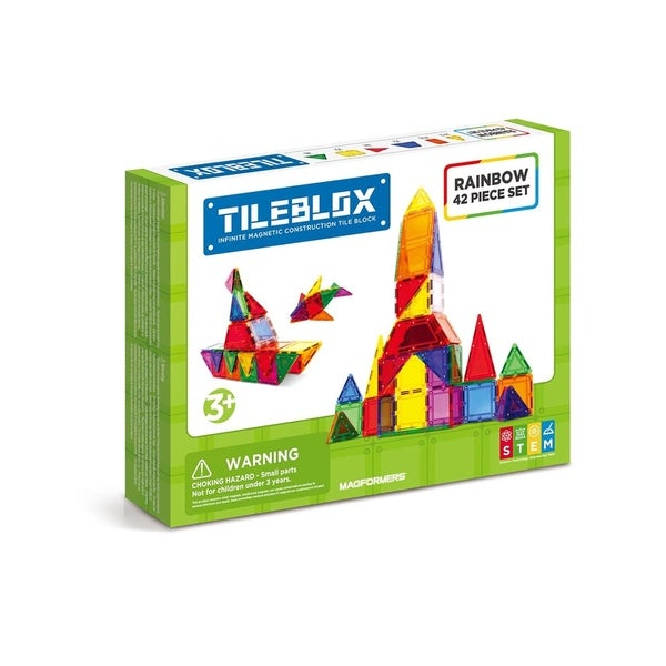 Magformers TILEBLOX Rainbow 42 Piece Magnetic Construction Set