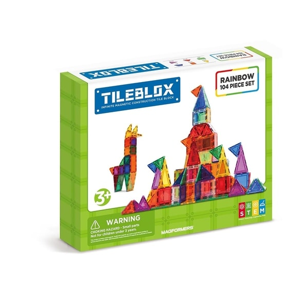 Magformers TILEBLOX Rainbow 104 Piece Magnetic Construction Set