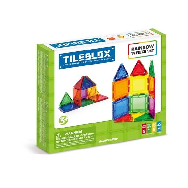 Magformers TILEBLOX Rainbow 14 Piece Magnetic Construction Set
