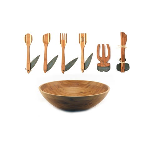 Bamboo 3pc Salad Set: Salad Bowl and Salad Hands