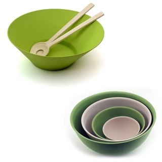 CooknCo Bamboo 7 Piece Salad Set: 3pc Salad & 4pc Bwl Sets