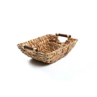 "15"" Hyacinth & Wood Handled Basket by Trademark Innovations"