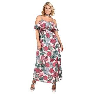 Xehar Womens Plus Size Floral Print Maxi V-Neck Dress
