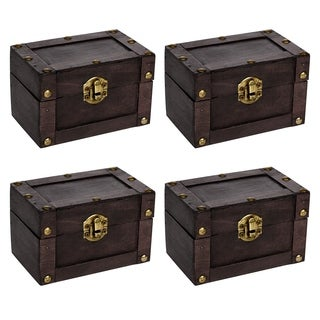 Small Decorative Wood Treasure Chest - Set of 4  By Trademark Innovations