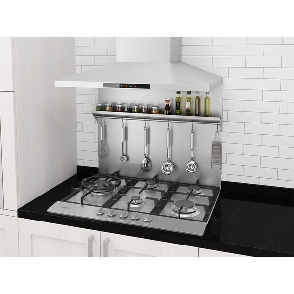 shop ancona 30 in stainless steel backsplash with stainless steel rh overstock com Travertine Backsplash Vinyl Backsplash