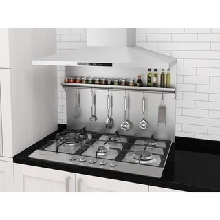 Ancona 36 in. Stainless Steel Backsplash with Stainless Steel Shelf