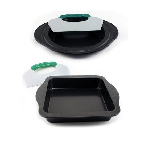Perfect Slice 4pc Set: Pie Pan/Tool & Sq Cake Pan/Tool - Black