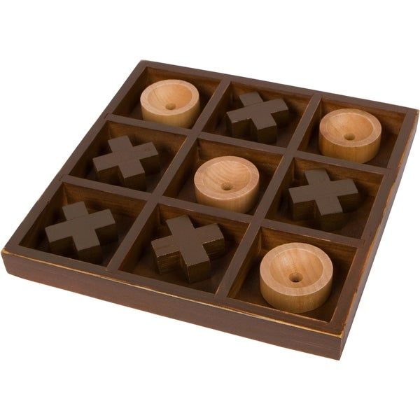 "10"" Wooden Tic Tac Toe Desk Top Table Décor Game by Trademark Innovations"