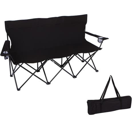 """65"""" Triple Style Tri Camp Chair with Steel Frame and Carry Bag by Trademark Innovations (Black)"""