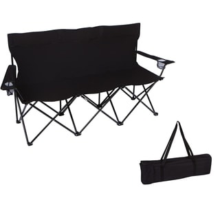 "65"" Triple Style Tri Camp Chair with Steel Frame and Carry Bag by Trademark Innovations (Black)"