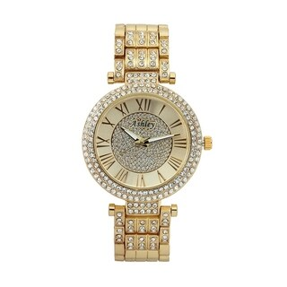 Ashley Ladies Gold-Tone Rhinestone-Accented Bracelet Watch