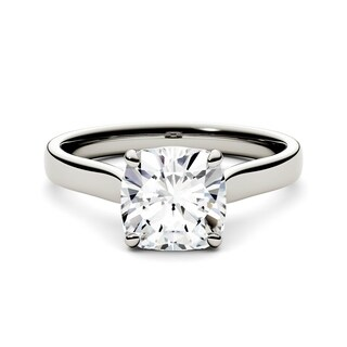 Charles & Colvard 14k White Gold 2ct DEW Cushion Forever One Colorless Moissanite Solitaire Ring