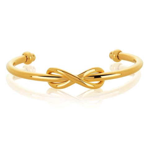 Gold Plated Stainless Steel Intertwined Infinity Cuff Bracelet - Yellow