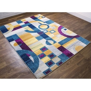 "Retro Blocks Area Rug (5' 3"" x 7' 3"")"