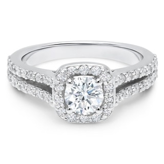 LeZari & Co. 1.10ct TDW with a 0.60ct Round Center Diamond, Split Shank, Cushion Halo, Pave, Engagement Ring, 14K. (H-I, I2-I3)