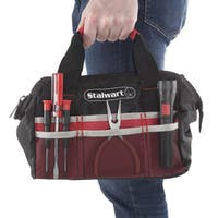 Soft Sided Tool Bag With Wide-Mouth Storage- Durable 12 Inch Compact Storage Pouch By Stalwart (Red)