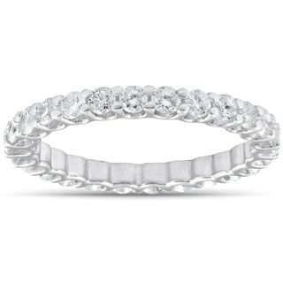 14k White Gold 2 cttw Diamond Eternity Ring U Prong Wedding Band  (I-J, I2-I3)