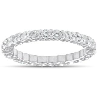 14k White Gold 2 cttw Diamond Eternity Ring U Prong Wedding Band  (I-J, I2-I3)