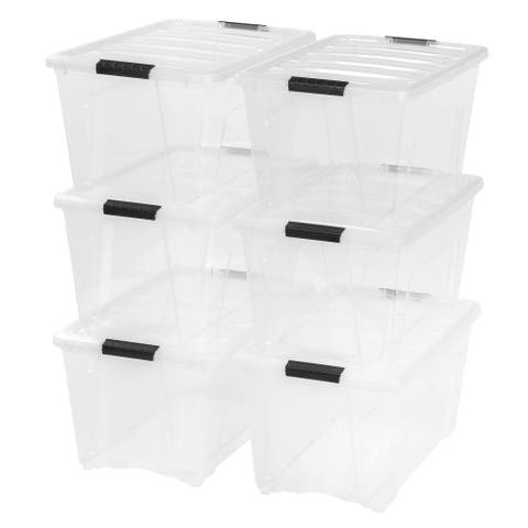 IRIS Stack & Pull Plastic Storage Bin (Pack of 6)