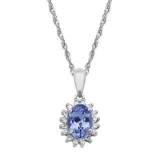 Viducci 10k White Gold Oval Tanzanite and 1/6ct Diamond Halo Necklace