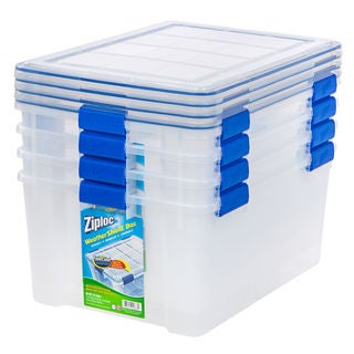 Ziploc WeatherShield 60 qt. Plastic Storage Bin (Pack of 4)