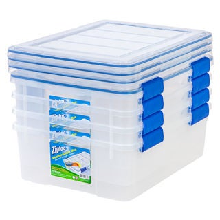 Iris Ziploc WeatherShield Clear Plastic 26.5-quart Storage Box (Pack of 4)