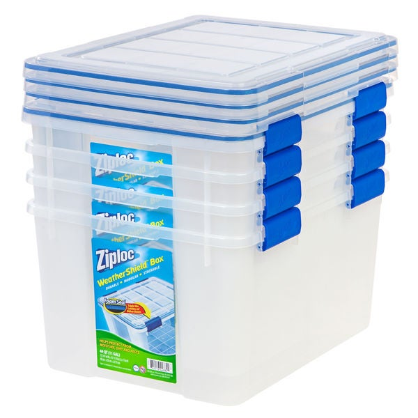 Shop Ziploc Weathershield Clear 44 Qt Storage Boxes Set