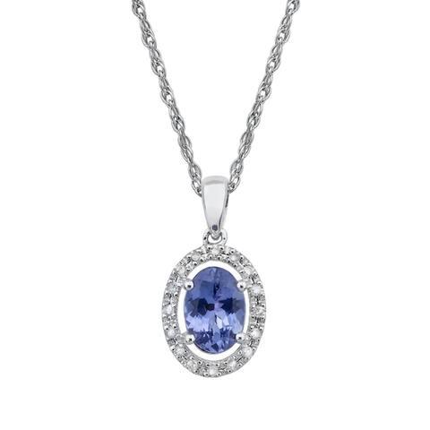 Viducci 10k White Gold Oval Genuine Tanzanite and Diamond Necklace