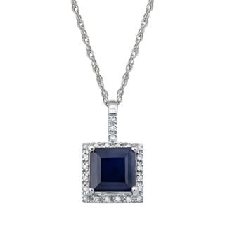 Viducci 10k White Gold Genuine Sapphire and Diamond Halo Necklace