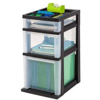 IRIS Medium Black 3-drawer Cart with Organizer Top (Pack of 2)