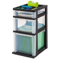 IRIS Medium Black 3-drawer Cart with Organizer Top