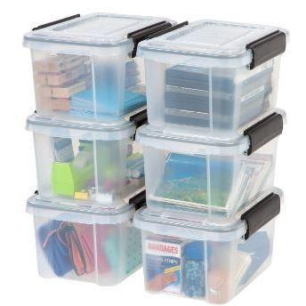 IRIS 6.5 Qt. Weathertight Plastic Storage Bin (Pack Of 6)
