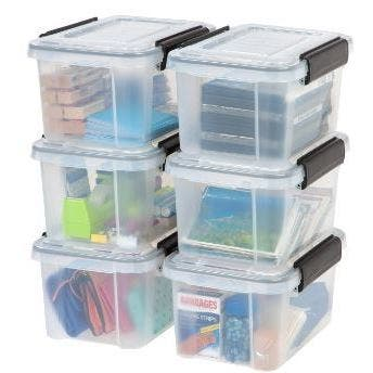 IRIS 6.5 qt. Weathertight Plastic Storage Bin (Pack of 6) - 6.5 qt