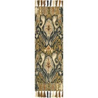 Hand-hooked Lena Charcoal/ Khaki Ikat Rug - 2'6 x 7'6