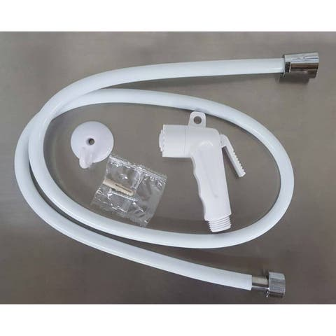 Set of Toilet Hand Bidet Sprayer and PVC Flexible Hose White