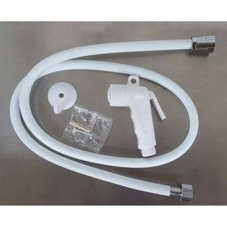 Set of Toilet Hand Bidet Sprayer and PVC Flexible Hose White