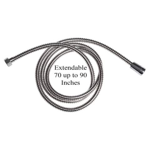 Extendable Shower Hose Stainless Steel Chrome 70 to 90 Inches