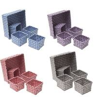 Evideco Checkered Woven Strap Storage Shelf Baskets Set of 5