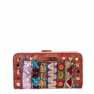 Nicole Lee Heloise Fabric Embroidered Brown Wallet