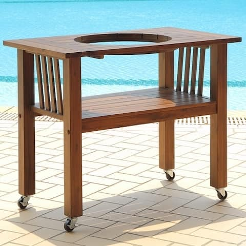 Duluth Forge Table for Medium Ceramic Charcoal Kamado Grill and Smoker - Brown Spice