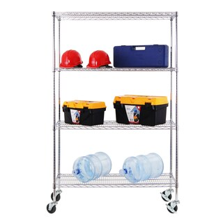Excel NSF Multi-Purpose 4-Tier Wire Shelving Unit with Casters, 48 in. x 18 in. x 77 in., Chrome